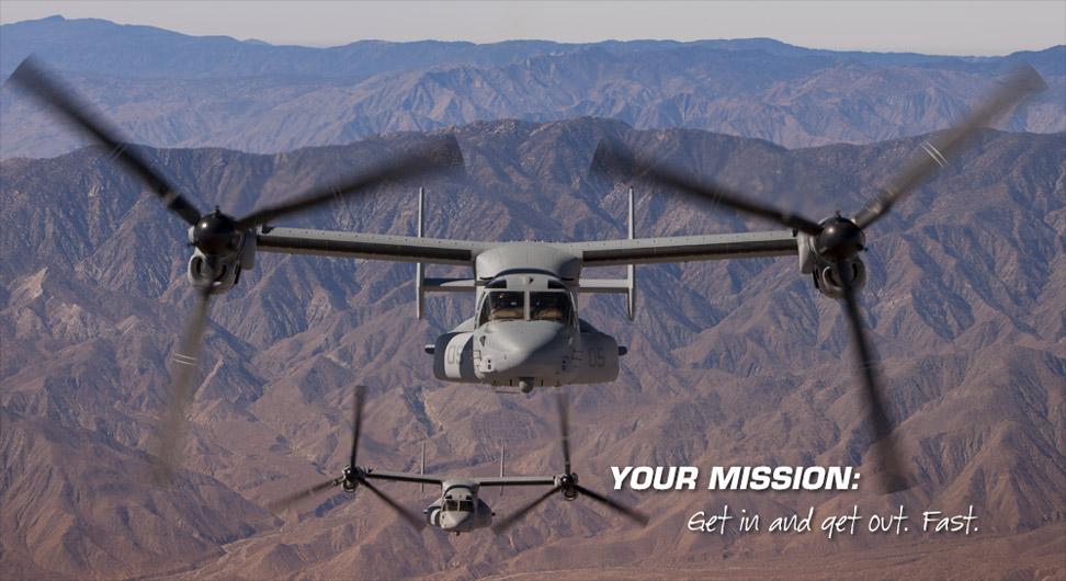 你的任务:获取中解脱出来。快。 - 两个V-22的沙漠山区地形的飞了过来。